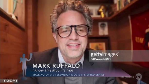 """In this screengrab released on April 4 Mark Ruffalo, winner of Outstanding Performance by a Male Actor in a Television Movie or Limited Series for """"I..."""