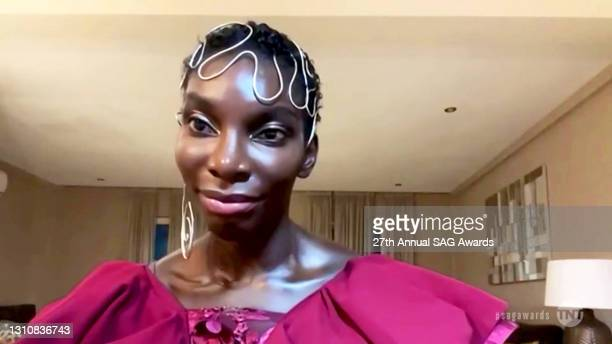 In this screengrab released on April 4 Michaela Coel speaks during the 27th Annual Screen Actors Guild Awards on April 04, 2021.