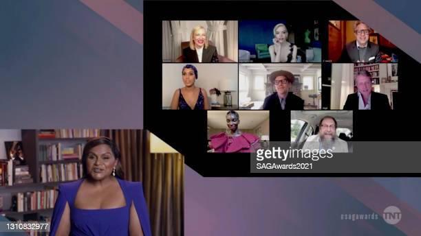 In this screengrab released on April 4 Mindy Kaling, Cate Blanchett, Anya Taylor-Joy, Mark Ruffalo, Kerry Washington, Ethan Hawke, Hugh Grant,...