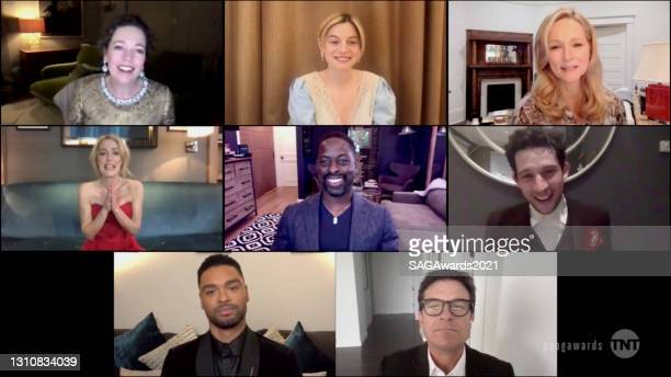 In this screengrab released on April 4 Olivia Colman, Emma Corrin, Laura Linney, Gillian Anderson, Sterling K. Brown, Josh O'Connor, Regé-Jean Page,...