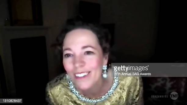 In this screengrab released on April 4 Olivia Colman speaks during the 27th Annual Screen Actors Guild Awards on April 04, 2021.