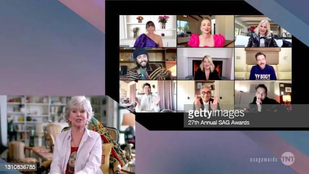 In this screengrab released on April 4 Rita Moreno, Linda Cardellini, Kaley Cuoco, Catherine O'Hara, Ramy Youssef, Christina Applegate, Jason...