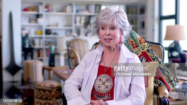 In this screengrab released on April 4 Rita Moreno speaks during the 27th Annual Screen Actors Guild Awards on April 04, 2021.