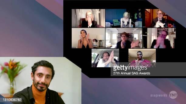 In this screengrab released on April 4 Riz Ahmed, Cate Blanchett, Anya Taylor-Joy, Mark Ruffalo, Kerry Washington, Ethan Hawke, Hugh Grant, Bill...