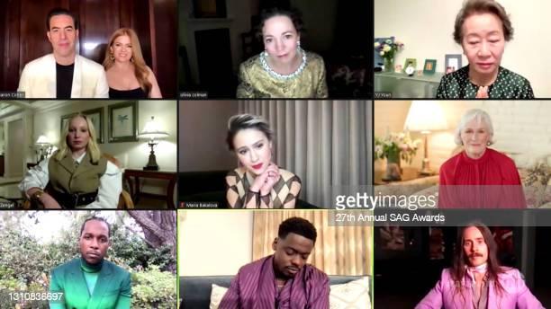 In this screengrab released on April 4 Sacha Baron Cohen, Isla Fisher, Olivia Colman, Yuh-Jung Youn, Helena Zengel, Maria Bakalova, Glenn Close,...