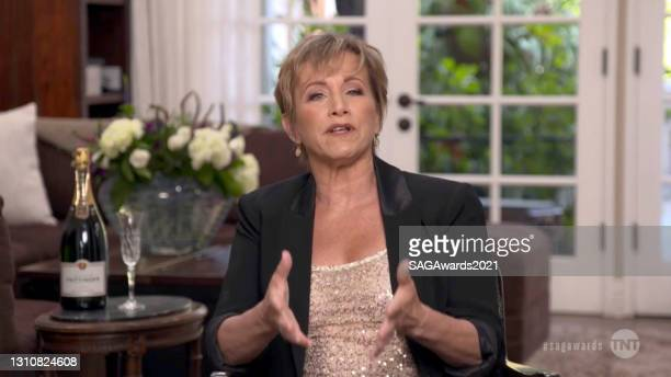 In this screengrab released on April 4 SAG-AFTRA President Gabrielle Carteris speaks during the 27th Annual Screen Actors Guild Awards on April 04,...