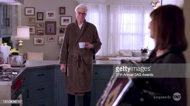 In this screengrab released on April 4 Ted Danson and Mary Steenburgen perform during the 27th Annual Screen Actors Guild Awards on April 04, 2021.