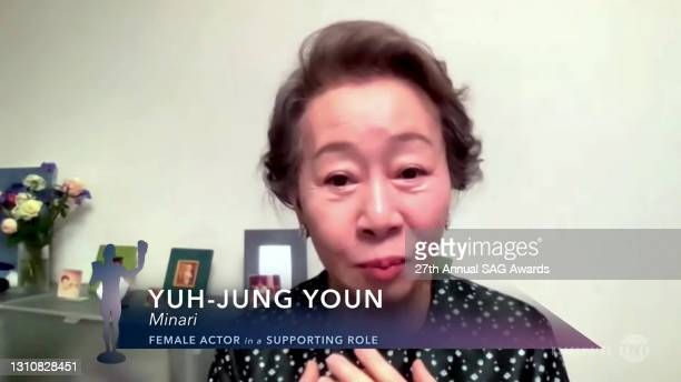 """In this screengrab released on April 4 Yuh-Jung Youn, winner of Outstanding Performance by a Female Actor in a Supporting Role for """"Minari"""", speaks..."""