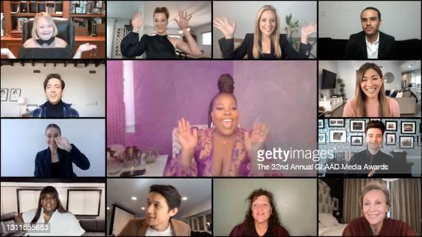 In this screengrab released on April 8, Lauren Potter, Heather Morris, Jessalyn Gilsig, Jacob Artist, Jenna Ushkowitz, Chris Colfer, Jane Lynch,...