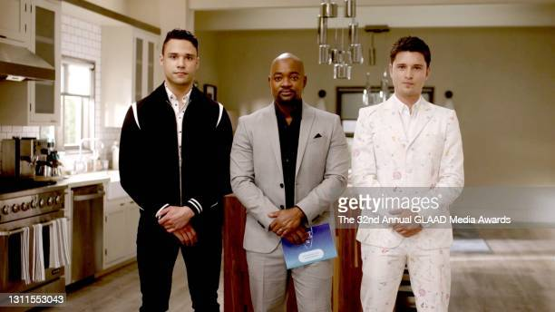 In this screengrab released on April 8, Rafael Silva, Brian Michael Smith, Ronen Rubinstein speak during The 32nd Annual GLAAD Media Awards broadcast...