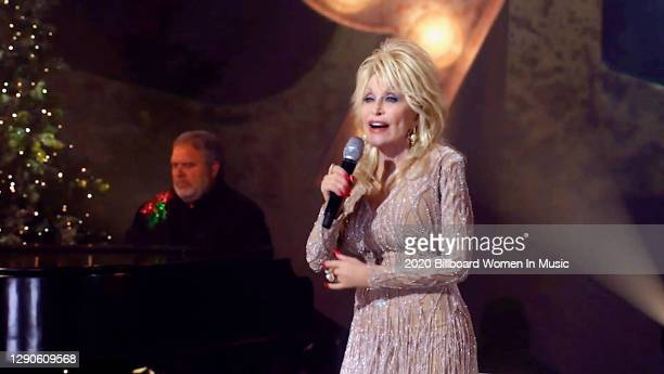 In this screengrab released on December 10, Dolly Parton performs during the Billboard Women In Music 2020 event on December 10, 2020.