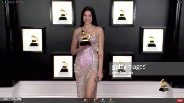 In this screengrab released on March 14, Dua Lipa, winner of Best Pop Vocal Album for 'Future Nostalgia', attends the 63rd Annual GRAMMY Awards...