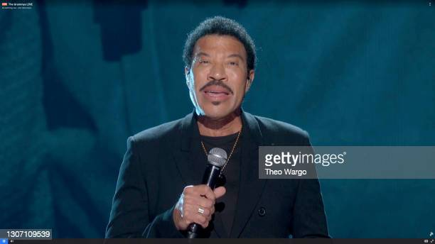 In this screengrab released on March 14, Lionel Richie performs onstage during the 63rd Annual GRAMMY Awards broadcast on March 14, 2021.