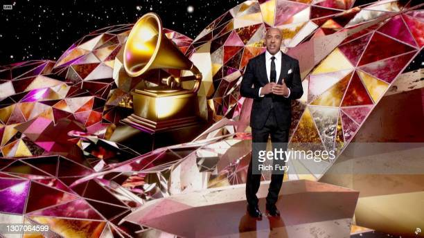 In this screengrab released on March 14, Recording Academy Chair and Interim President/CEO Harvey Mason jr. Speaks onstage during the 63rd Annual...