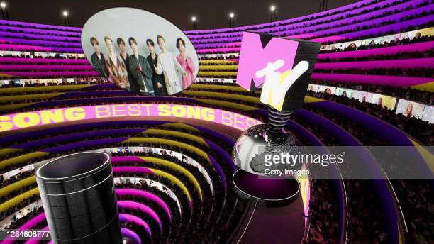 In this screengrab released on November 08, BTS accepting the win for Best Song at the MTV EMA's 2020 on November 01, 2020 in Los Angeles,...