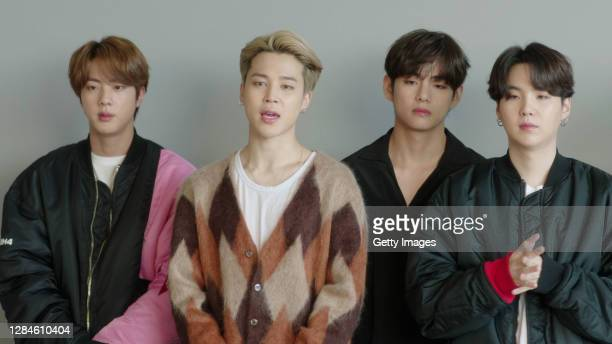In this screengrab released on November 08, BTS accepting the win for Best Group at the MTV EMA's 2020 on November 01, 2020 in Los Angeles,...