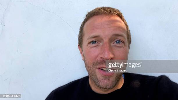In this screengrab released on November 08, Chris Martin of Coldplay accepting the win for Best Rock at the MTV EMA's 2020 on November 01, 2020 in...