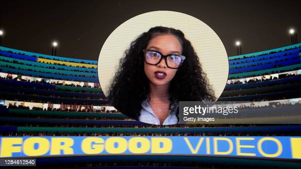 In this screengrab released on November 08, H.E.R accepting the win for Video For Good at the MTV EMA's 2020 on November 01, 2020 in Los Angeles,...