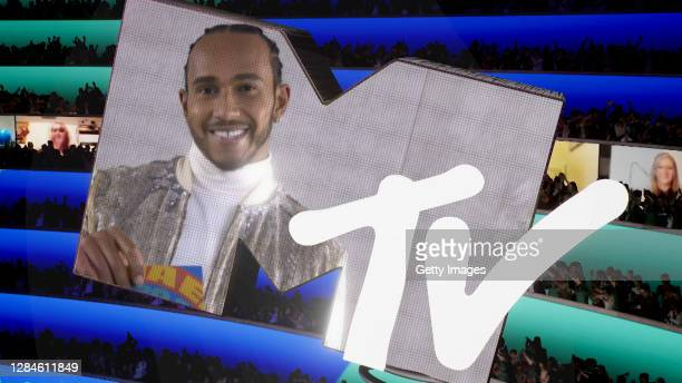 In this screengrab released on November 08, Lewis Hamilton presents the award for Video For Good at the MTV EMA's 2020. The MTV EMA's aired on...