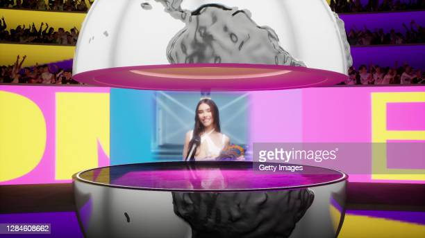 In this screengrab released on November 08, Madison Beer on stage to present the award for Best Song at the MTV EMA's 2020 on October 30, 2020 in Los...