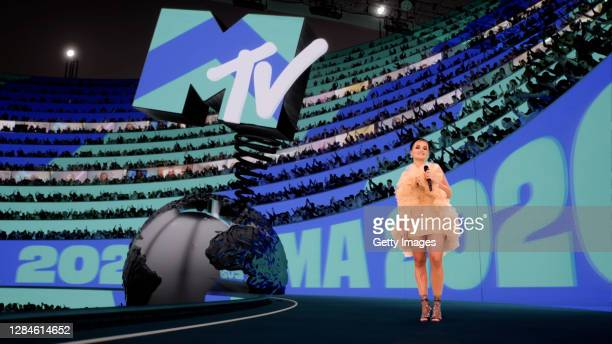 In this screengrab released on November 08, Rita Ora presenting the Best Electronic award at the MTV EMA's 2020 on November 01, 2020 in London,...