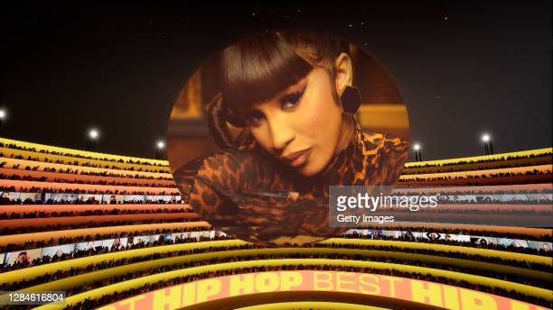 In this screengrab released on November 08, Sway Calloway accepts the award for Best Hip Hop on behalf of Cardi B at the MTV EMA's 2020. The MTV...