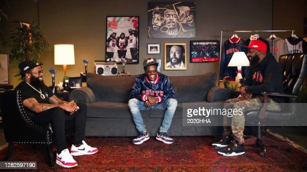 In this screengrab released on October 27, Chico Bean, DC Young Fly, and Karlous Miller of 85 South speak at the BET Hip Hop Awards 2020.