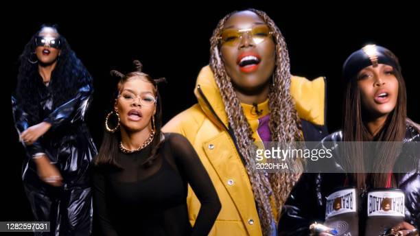 In this screengrab released on October 27, H.E.R., Teyana Taylor, Brandy, and Erykah Badu perform for the BET Hip Hop Awards 2020.