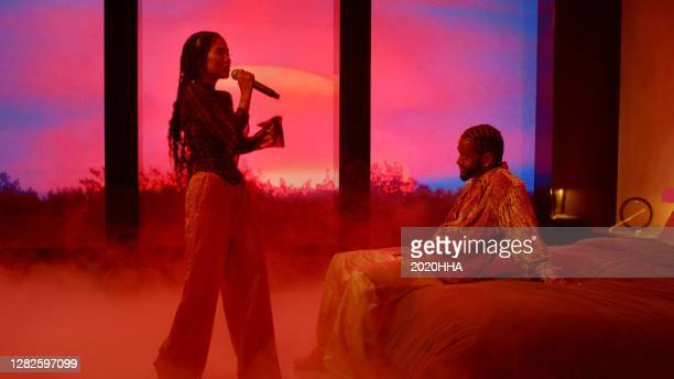In this screengrab released on October 27, Jhené Aiko and Big Sean perform for the BET Hip Hop Awards 2020.