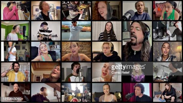 In this screengrab Rita Ora Dermot Kennedy Jess Glynne AJ Tracey Celeste Dan Smith Yungblud Sean Paul Hailee Steinfeld Dave Grohl Ben Thatcher James...