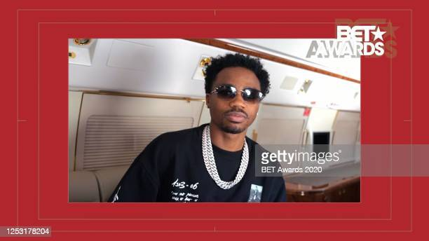 In this screengrab, Roddy Ricch is seen during the 2020 BET Awards. The 20th annual BET Awards, which aired June 28 was held virtually due to...