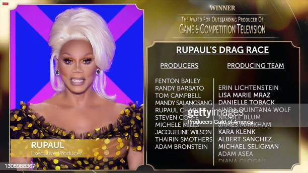 In this screengrab, RuPaul accepts the Outstanding Producer of Game & Competition Television Award during the 32nd Annual Producers Guild Awards on...