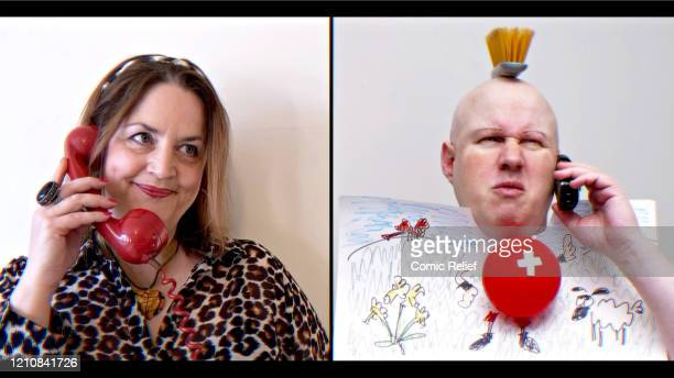 In this screengrab Ruth Jones and Matt Lucas take part in the BBC Children In Need and Comic Relief 'Big Night In at London on April 23 2020 in...