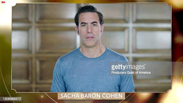 In this screengrab, Sacha Baron Cohen speaks during the 32nd Annual Producers Guild Awards on March 24, 2021.