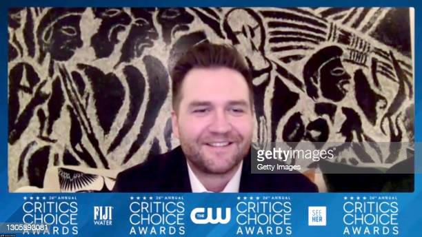 In this screengrab, Sam Ashworth, winner of Best Song Award, arrives at the press room at the 26th Annual Critics Choice Awards on March 07, 2021.
