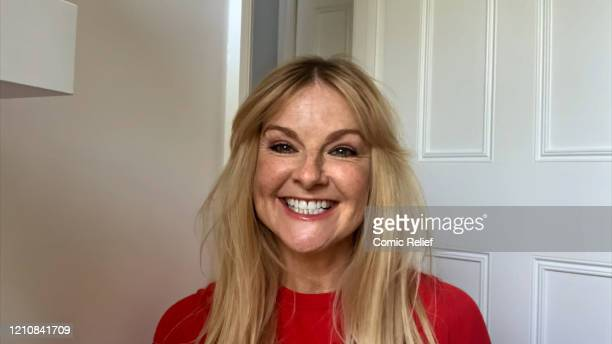In this screengrab Sarah Hadland takes part in the BBC Children In Need and Comic Relief 'Big Night In at London on April 23 2020 in London...