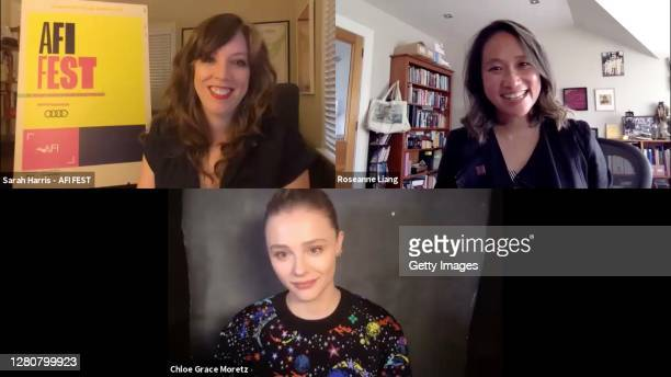 """In this screengrab, Sarah Harris, Director of Programmer, AFI Festivals, Roseanne Liang, and Chloë Grace Moretz speak at the screening of """"Shadow In..."""