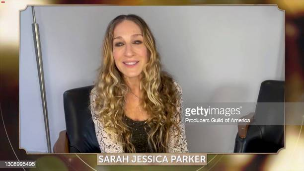 In this screengrab, Sarah Jessica Parker speaks during the 32nd Annual Producers Guild Awards on March 24, 2021.