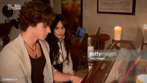 In this screengrab Shawn Mendes and Camila Cabello perform during One World Together At Home presented by Global Citizen on April 2020 The global...