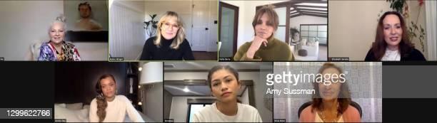 In this screengrab, Sia, Robin Wright, Halle Berry, Elisabeth Sereda, Andra Day, Zendaya and Silvia Bizio speak at the 2021 HFPA Women Breaking...