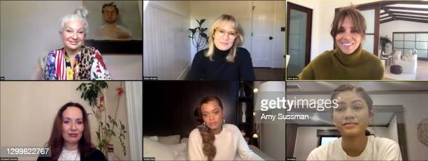 In this screengrab, Sia, Robin Wright, Halle Berry, Elisabeth Sereda, Andra Day and Zendaya speak at the 2021 HFPA Women Breaking Barriers Sundance...