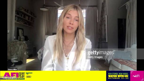 In this screengrab, Sienna Miller speaks at the screening of WANDER DARKLY at AFI FEST presented by Audi on October 19, 2020 in Various Cities.
