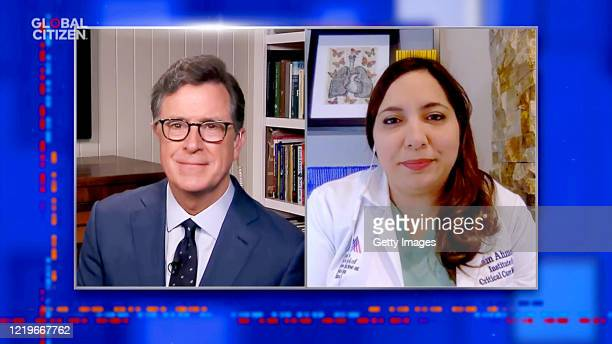 In this screengrab Stephen Colbert and Sanam Ahmed MD speak during One World Together At Home presented by Global Citizen on April 2020 The global...
