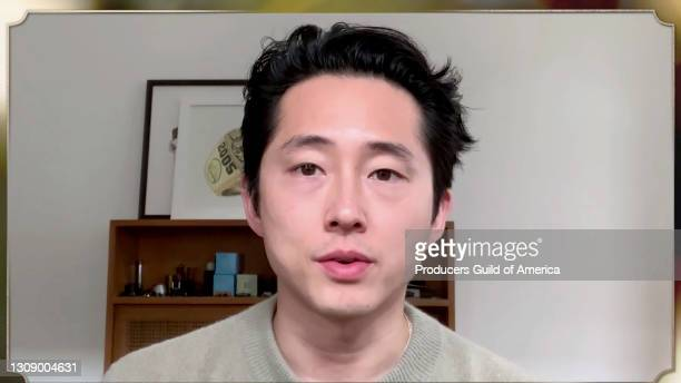 In this screengrab, Steven Yeun speaks during the 32nd Annual Producers Guild Awards on March 24, 2021.