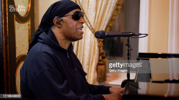 In this screengrab Stevie Wonder performs during One World Together At Home presented by Global Citizen on April 2020 The global broadcast and...