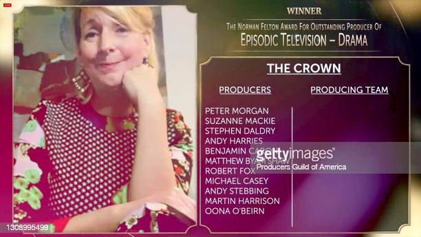 In this screengrab, Suzanne Mackie accepts the Norman Felton Award for Outstanding Producer of Episodic Television - Drama during the 32nd Annual...