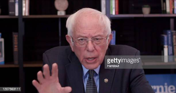 In this screengrab taken from a berniesanderscom webcast Democratic presidential candidate Sen Bernie Sanders talks about his plan to deal with the...