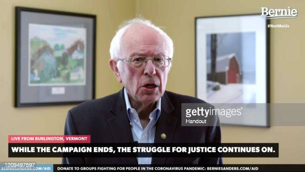 In this screengrab taken from a berniesanderscom webcast US Sen Bernie Sanders announces that he is suspending his 2020 Democratic presidential...
