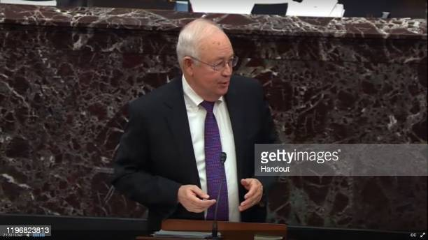 In this screengrab taken from a Senate Television webcast Legal Counsel for President Donald Trump Ken Starr speaks during impeachment proceedings...