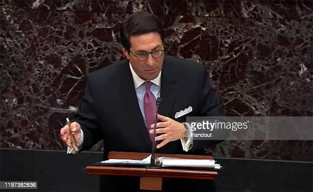 In this screengrab taken from a Senate Television webcast Legal Counsel for President Trump Jay Sekulow answers a question from a senator during...